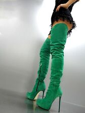 CQ COUTURE EXTREME LUXURY CUSTUM OVERKNEE BOOTS STIEFEL LEATHER GREEN GRUN 45