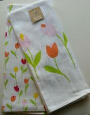 Set of 2 Kitchen Dish Tea Towels ~ Easter White with Spring Tulips