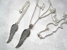 *PRETTY FEATHER WING* Charm Necklace & Bracelet Set SP XMAS GIFT Angel Wings