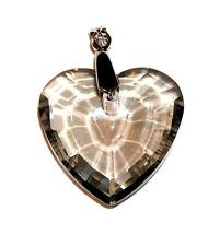 PENDANT/NECKLACE ST Glass Crystal Smoke Gray UNUSUAL FACETED HEART