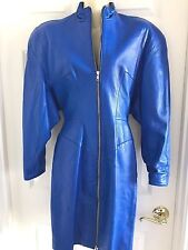 MICHAEL HOBAN North Beach Dress Blue Leather Front Zip Lined Small Vintage 80's