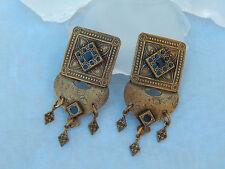 Vintage Marjorie Baer Brass Black Enamel Dangle Clip Earrings MB SF