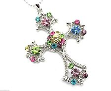 Cross Pendant Necklace Women's Colorful Crystals Silver Chain Crystal New