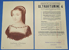 RARE PLANCHE PUB 1951 MEDECINE ULTRAVITAMINE 4 FAVORITES FRANCE Duch. D'ETAMPES