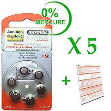 5 plaquettes de 6 piles auditives RAYOVAC N° 13 (PR48) sans mercure