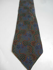 Vintage Fumagalli's Gray Red and Purple Floral Print Silk Necktie