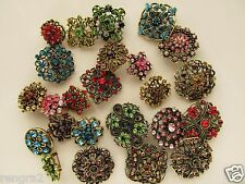 Brooch Lot 24 Mixed Bronze Pin Wholesale Rhinestone Crystal Wedding Bouquet DIY