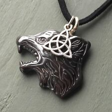WOW Celtic Triquetra Hand Carved Wolf Head Pendant Totem Viking Spirit Guide