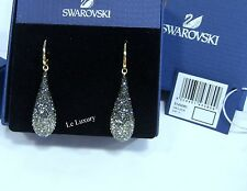Swarovski Abstract Pierced Earrings, Gold-plated Dark Crystal Authentic 5143080