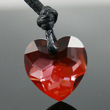 Siam Red Love Heart Swarovski Crystal Necklace Pendant