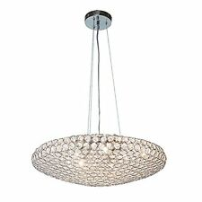 New 5 Light Dia 20'' Ellipse Shade Crystal Chandelier Pendant Chrome Polished