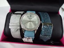 New Rocawear Crystal Tri Band Gift Set Blue Leather Watch RLIN13775330-078  $110