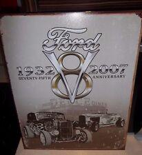 FORD V8 75TH , ANTIQUE-FINISH METAL WALL SIGN 40x30 cm HOT RODS/DEUCE DINER