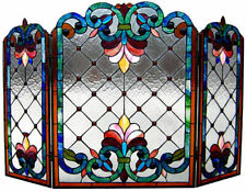 """Colorful Tiffany Style Stained Cut Glass Fireplace Screen 28"""" Tall by 44"""" Wide"""