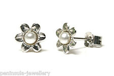 9ct White Gold Earrings Pearl Flower Studs Gift Boxed Made in UK