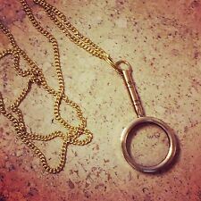 HOT SALE: Vintage Style Nautical Magnifying Glass Necklace Shiny Gold Brass