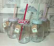 Mason Drinking Jars With Plastic Straw x 4 Party Glass Garden retro summer patio