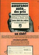 """Publicité Ancienne """" Assurance Auto L'AUTO CLUB des CADRES 1968 (  P. 31 )"""