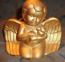 Vintage Gold Cherub Angel Cradling A Dove Pottery Planter Landy Label