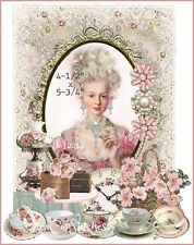 Marie Antionette~Teacups~Jewels~Shabby Chic FABRIC BLOCK~Pink Roses~Quilt~Pillow