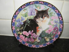CATS AMONG THE FLOWERS PLATE  -AGNEATHA IN SWEET PEAS   - DANBURY MINT