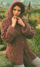 "Vintage Ladies Chunky Jacket with Hood & Cuffs  30"" - 42"" KNITTING PATTERN"