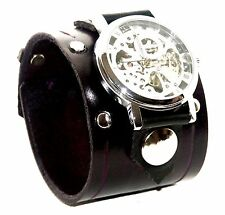 Purple Leather Watch Wrist band Bracelet Steampunk GOTHIC-Mechanical