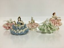 Mini Small German DRESDEN PORCELAIN ~ Lot Of 5 Rare Figurines Lace Dress