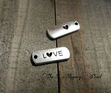 Word Charms LOVE Charms Pendants Inspirational Antiqued Silver Tag Charms 10p