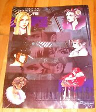 """Final Fantasy VIII characters laminated poster 21"""" x15"""" used vintage 1990s"""