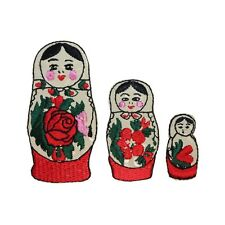 ID 3124ABC Set of 3 Russian Nesting Dolls Iron On Applique Patches