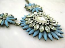 NWT Maison Marielle/Paris Shop Girl Aqua Starbust Crystal Statement Necklace NEW