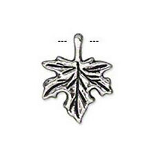 8 ANTIQUE SILVER PLATED MAPLE LEAF CHARM 17MM