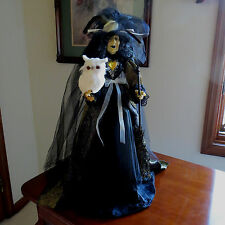 """HALLOWEEN WITCH DOLL W/JEWELS, OWL, ROSE, BROOM - 24""""- TABLE TOP- STUNNING"""