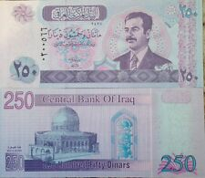 IRAQI IRAQ 2002 250 DINAR SADDAM UNCIRCULATED NOTE P-88 BUY FROM A USA SELLER !!