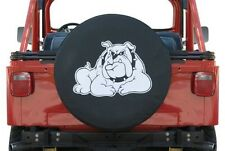 "Black Denim Spare Tire Cover Bull Dog Logo White 30"" Custom New Free Shipping"