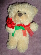 "Bear Tan Valentine Teddy holding red rose Cute Plush 8"" soft Stuffed Dan Dee Toy"