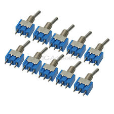 10 X Mini 6A SPDT MTS-102 3-Pin On / On Interruptor Palanca Toggle Switches