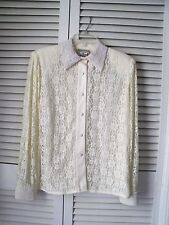 VINTAGE:EVAN-PICONE Off White Color Formal Evening  Lace Pearl Shirt Size 10 f17