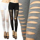 IUILE Women Distressed Laser Cut Out Ripped Sexy Stretch Cotton Leggings S/M/L