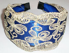 Blue wide white lace butterfly headband for women girls