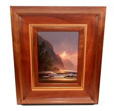 ROY GONZALEZ TABORA HAWAIIAN LANDSCAPE SEASCAPE WAVES PAINTING KOA WOOD FRAME