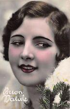 Cartolina - Postcard - Buon Natale - viso di  Donna - pino