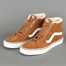 MENS size 7.5 Van's Sk8 Hi Pig Suede Fleece Monks Robe Blanc BROWN SKATE SHOES