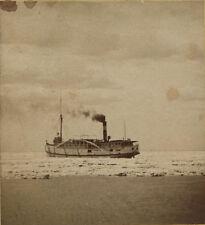 STEREOVIEW SHIP STUCK IN ICE, BUFFALO LIGHT. N.Y.