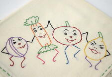 Vtg 50's Lot Of 10 Embroidered Large Hand Tea Towels
