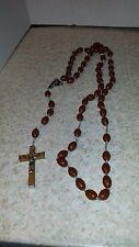 VINTAGE LARGE ROSARY 30'' LONG  WOODEN CROSS PLASTIC BEADS