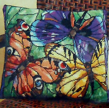 "#023-0389 JANLYNN ""STAINED GLASS BEAUTIES"" BUTTERFLY NEEDLEPOINT PILLOW KIT NIP!"