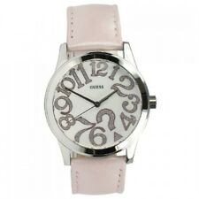 NEW GUESS POP QUIZ SILVER TONE ,PINK LEATHER BAND,LARGE NUMBERS, WATCH-W65011L1