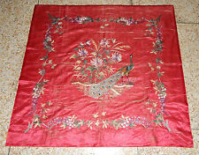 ANTIQUE BEAUTIFUL CHINESE PECOCK HAND EMBROIDERED TEXTILE PANEL 123X119cm